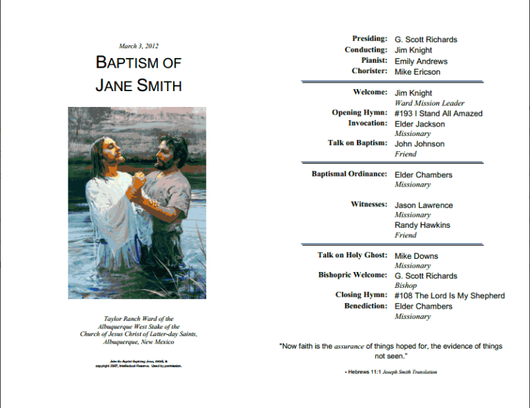 LDS Baptism Program Template - LayTreasuresInHeaven